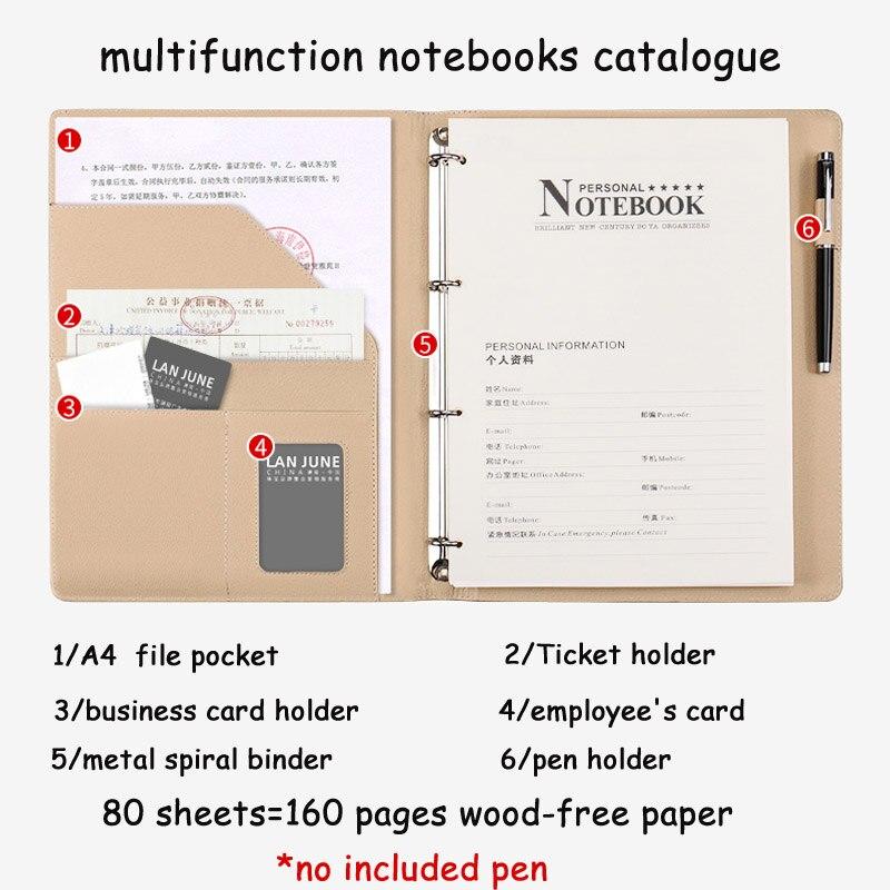 Hua Jie A4 Spiral Binder Notebook Business Card Holder Executive