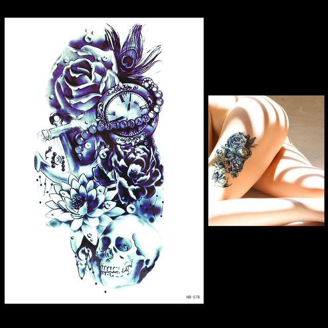 1pc Sketch Flower Arm Tattoo Sticker Women Men Body Art HB578 Peacock Feather Skull Time Bone Design 3D Temporary Tattoo Sticker