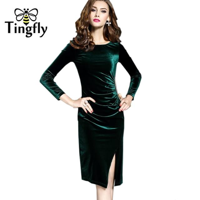 Tingfly Winter Autumn Women Ruched Velvet Dress Long Full Sleeve Slim Split  Green Velvet Dress Knee 74ddc3769ac4
