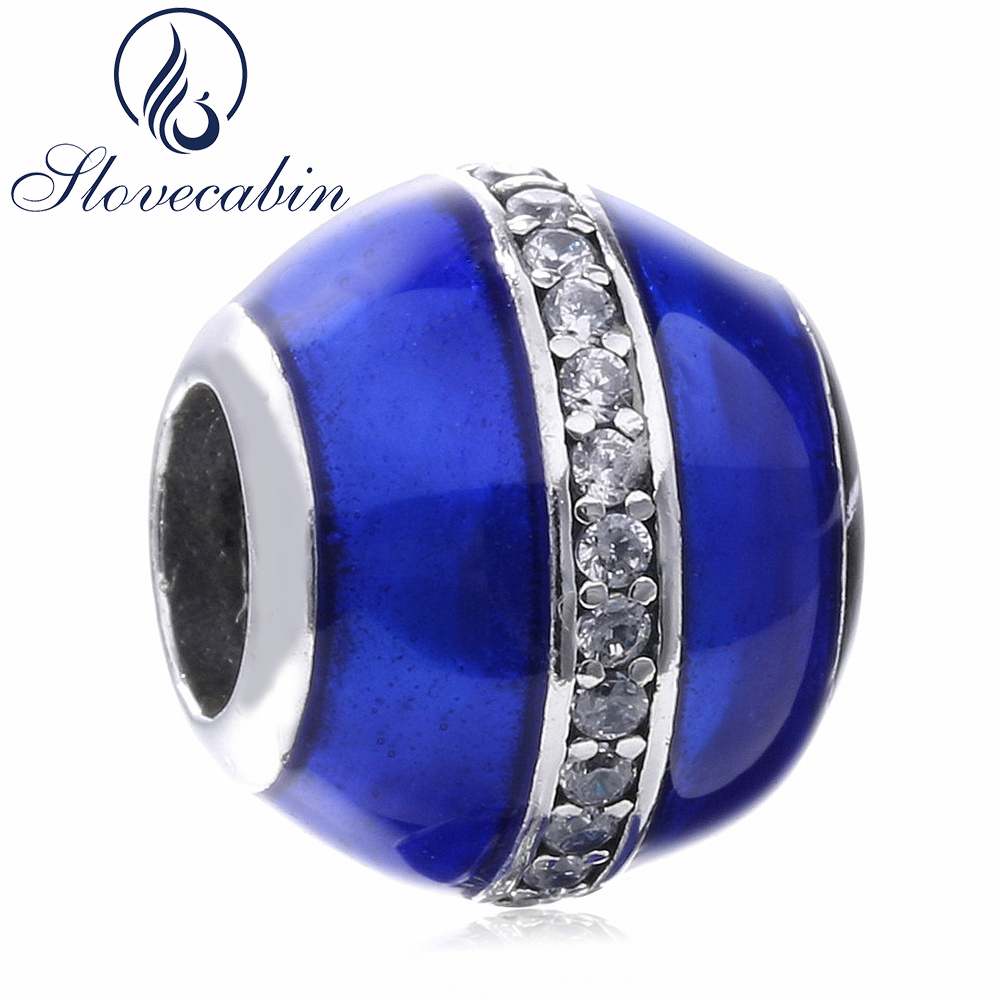 Slovecabin Original 925 Sterling Silver Round Crystal Beads CZ Blue Enamel Fit Pandora Charms Bracelets Diy Fine Jewelry Making