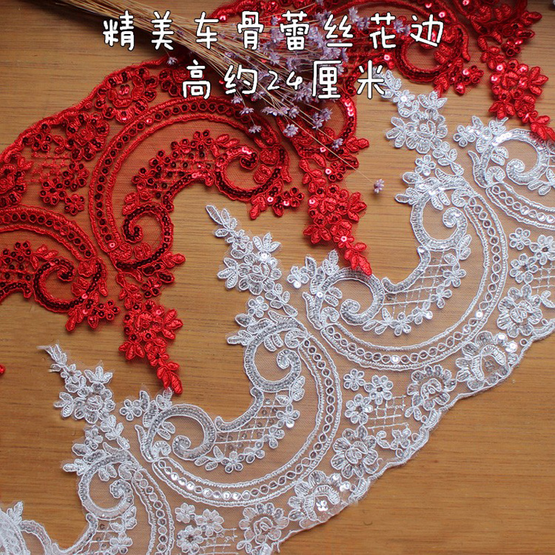 3Y/6Y 24cm Off White Red Sequin Black Beautiful Embroidery Wedding Lace Applique Trim Lace Fabric DIY Craft Wholesale