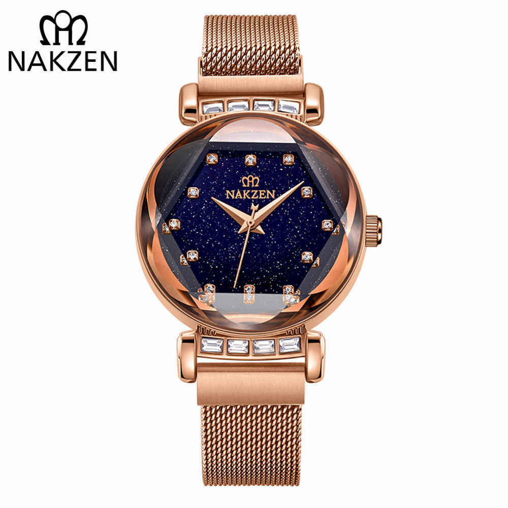 713703bf1ba1 NAKZEN Women Diamond Elegant Starry Sky Watches Ladies Creative Roman  Fashion Waterproof Quartz Watch Clock relogio