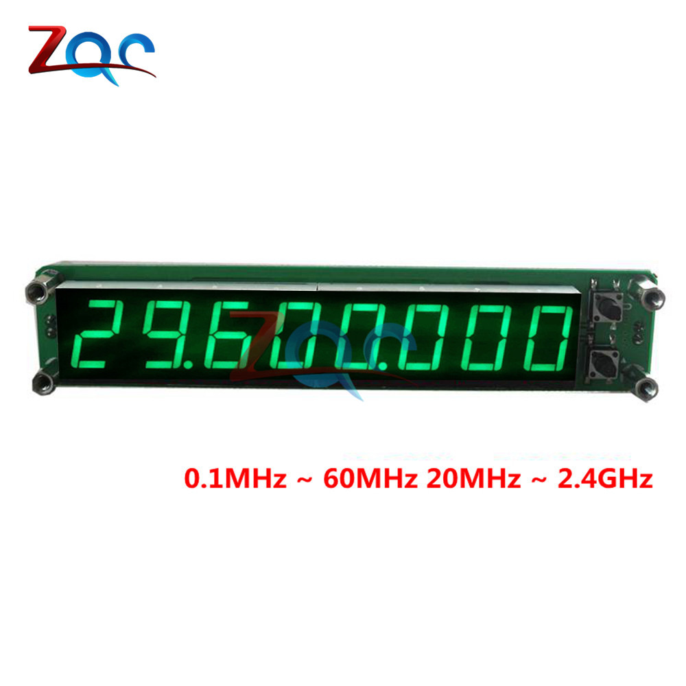 Green 0.1 to 60MHz 20MHz to 2400MHZ 2.4GHz RF Signal Frequency Counter Cymometer Tester 0.56 inch 8 LED Digital aneng 0 1 60mhz 20mhz 2 4ghz rf 8 digit led singal frequency counter cymometer tester