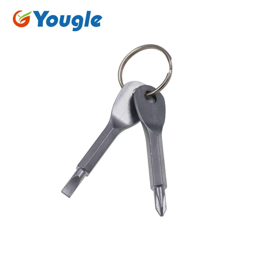 YOUGLE 2 piezas de acero inoxidable herramientas Multi anillo EDC destornillador bolsillo al aire libre conjunto de herramientas multiherramienta llavero plata negro