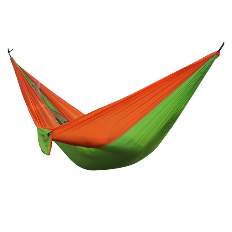 2 People Portable Parachute Hammock for outdoor CampingFruit green with orange side 270*140 cm