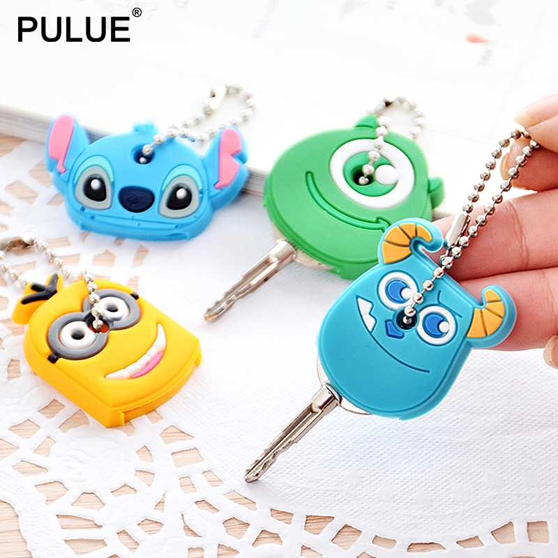Cute Cartoon Silicone Protective Key Case Cover Key Wallet Mini Pendant Kawaii Key Hook Control Dust Cover Holder Organizer