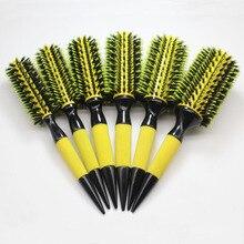 Livraison gratuite brosse à cheveux en bois avec mélange de poils de sanglier outils de coiffure en Nylon brosse à cheveux ronde professionnelle (6 pièces/ensemble)