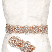 YANSTAR Bridal Rhinestone Wedding Belts Rose Gold Crystal 46CM Length Iron On Ribbons With Box For Bridal Gowns
