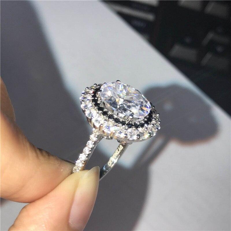 DYINGLUO 925 argent Sterling taille ovale cubique zircone noir Halo anneau de mariage promesse anneau cadeau argent bague de fiançailles pour les femmes - 5