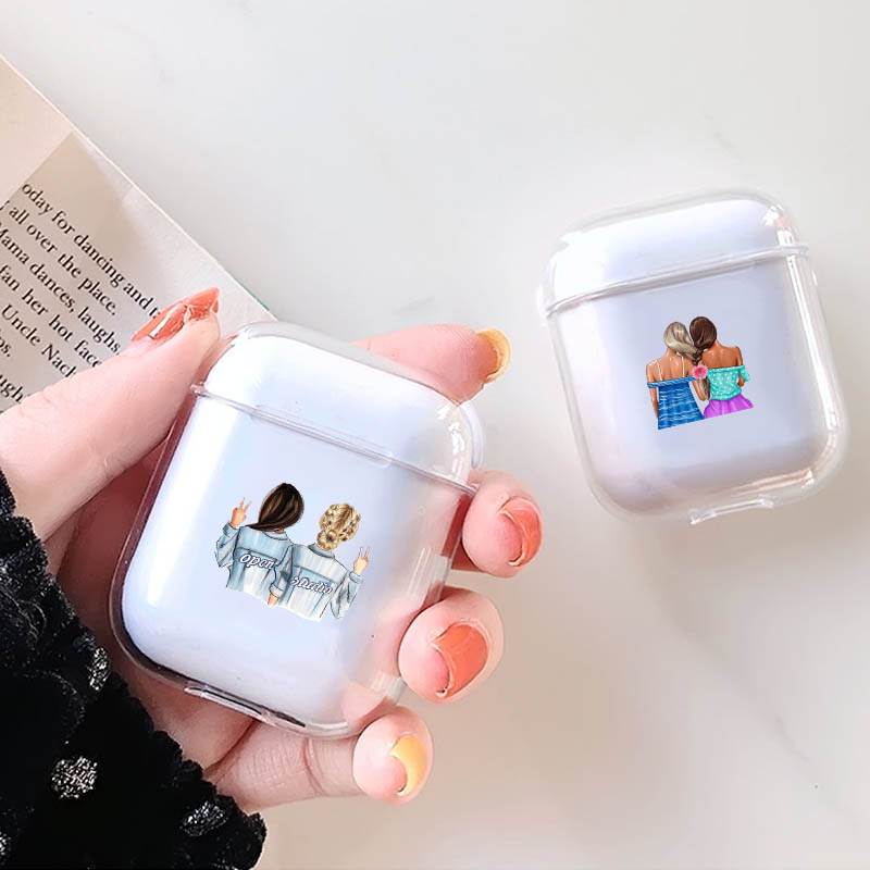 LAUGH LIFE Transparent Hard Luxury Earphone Case For Airpods Cases Best Friends Sisters Clear For Apple Airpods Case Cover