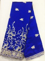 5Yards Beautiful royal blue cotton fabric african George lace fabric with gold sequins for clothes OG4 1