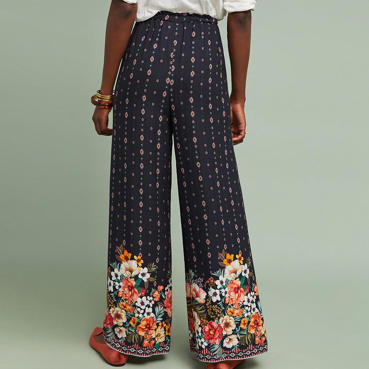 Ethnic Floral Wide-Leg Pants 2019 Summer Women High Waist Loose Pant Ladies Vint