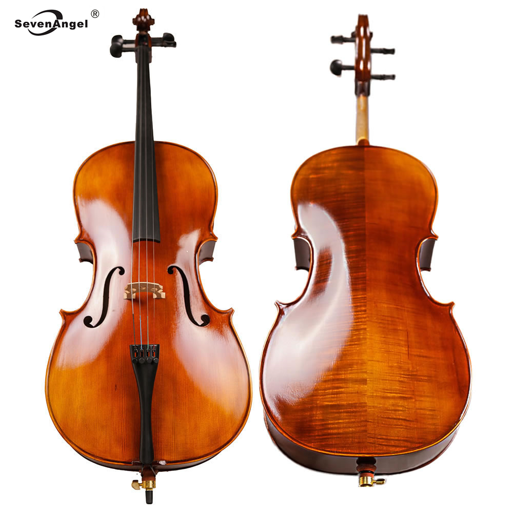 Full SevenAngel Full Size  Cello 4/4 3/4 1/2 1/4 Antique Natural Flamed Violoncello Professional Acoustic Musical Instrument