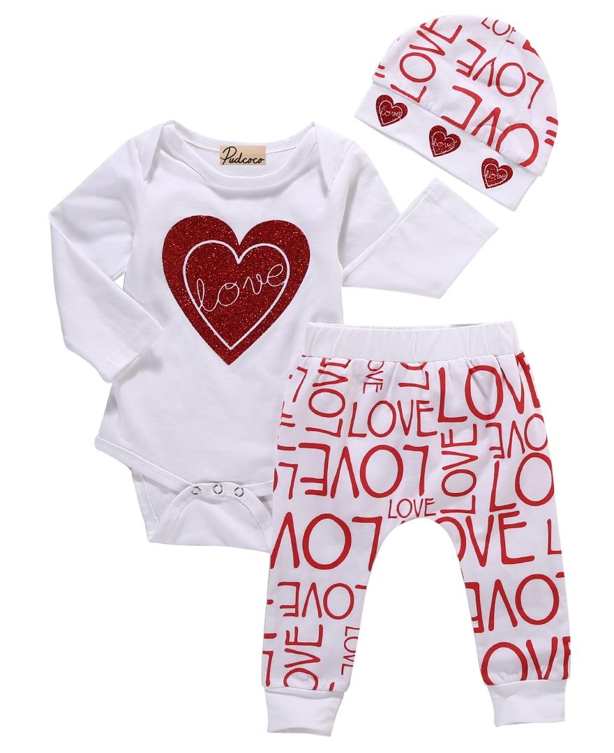 ¡Traje 3 piezas! Recién nacido bebé niña amor corazón mameluco + pantalones sombrero trajes conjunto ropa