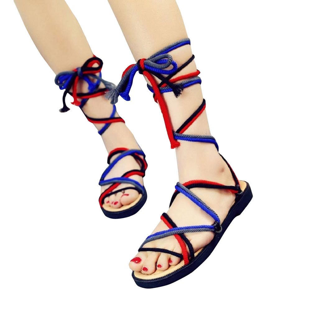 Women Sandals Strappy Open toe Knee High Summer Gladiator Flat Sandals Roman Cross-tied Bandage Casual shoes