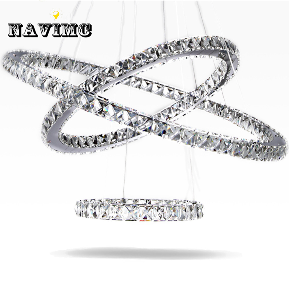 Modern Led Crystal Chandelier Light Fixture for Living Room Dining Room Decorative Hanging Lamp Diamond 3 Rings Chandeliers modern k9 crystal rings chandeliers lights led ceiling fixture for living dining room lamp restaurant design hanging lighting