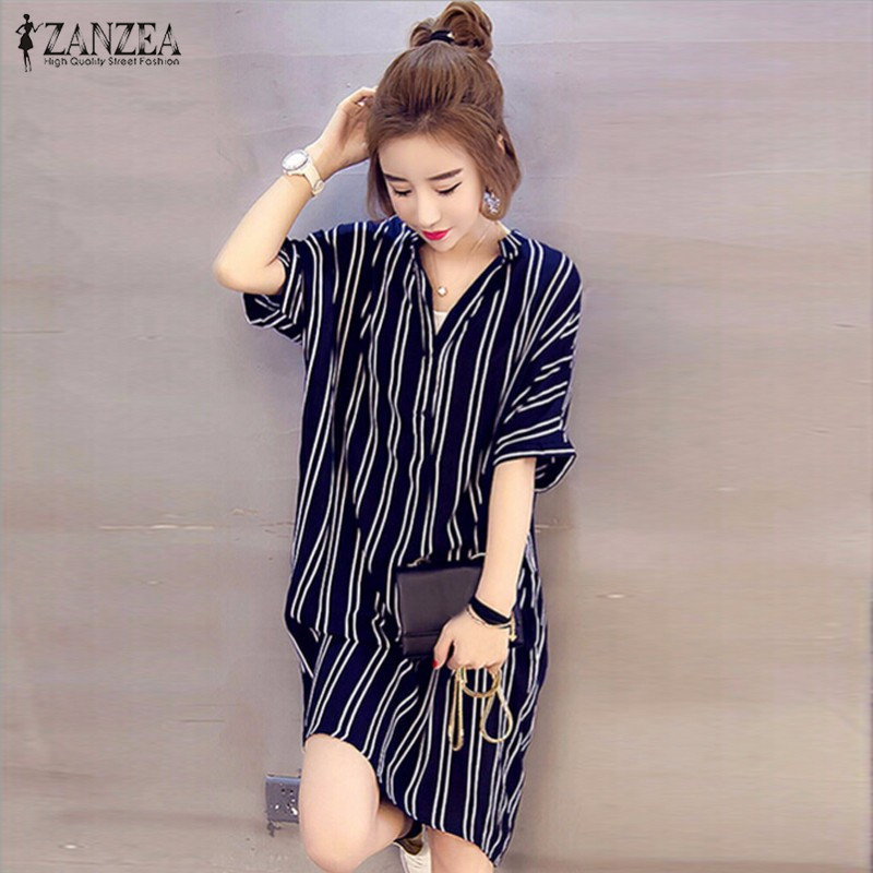 ZANZEA Mode Femmes Sexy Mini Robe Rayée 2018 Sexy V Cou À Manches Courtes  Boutons Chemise Robes Imprimé Lâche Occasionnel Robes dd82bbf8caf