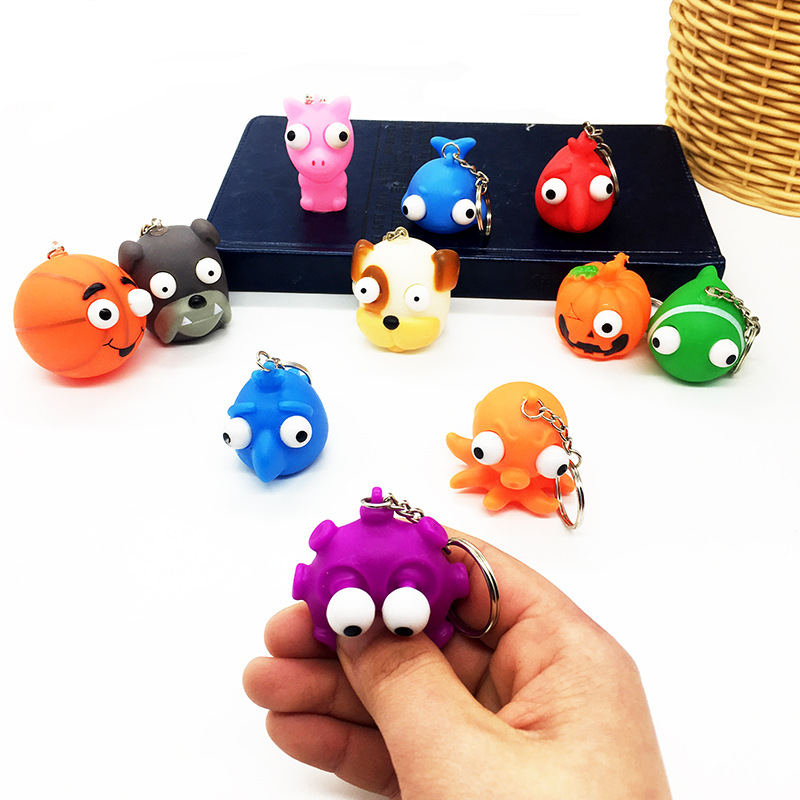 10Pc Soft Squeeze Antistress Toy Pop Out Eyes Doll Novelty Stress Relief Venting Keychain Joking Decompression Funny Squishy Toy