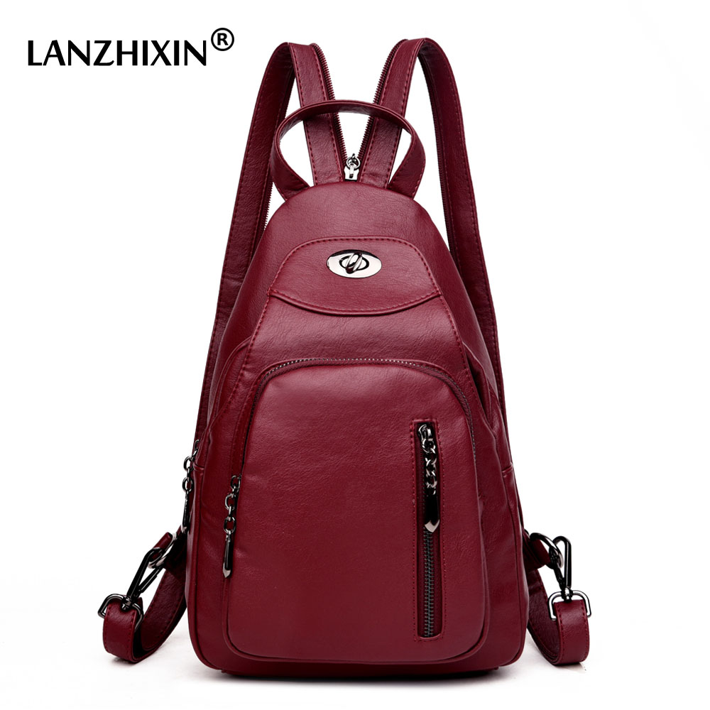 Lanzhixin Women Backpacks High Quality Leather Backpacks For Teenage Girls Sac A Main Female Vintage School
