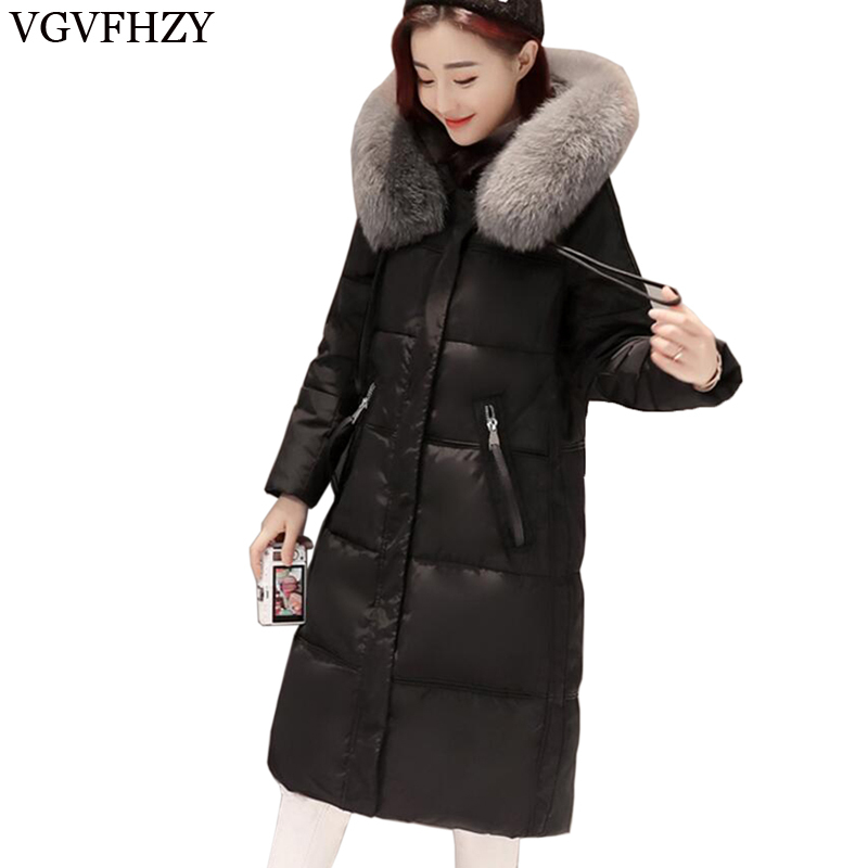 new 2018 High Quality Womens White Duck   Down   Jacket Black Hooded Winter   Coat   Female Long Parkas Slim Woman   Down     Coats   LY708