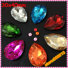 33pcs Biggest 30x40mm Pear Drop Crystal Fancy Stone Teardrop Bling Crystal For Jewelry Making(China)