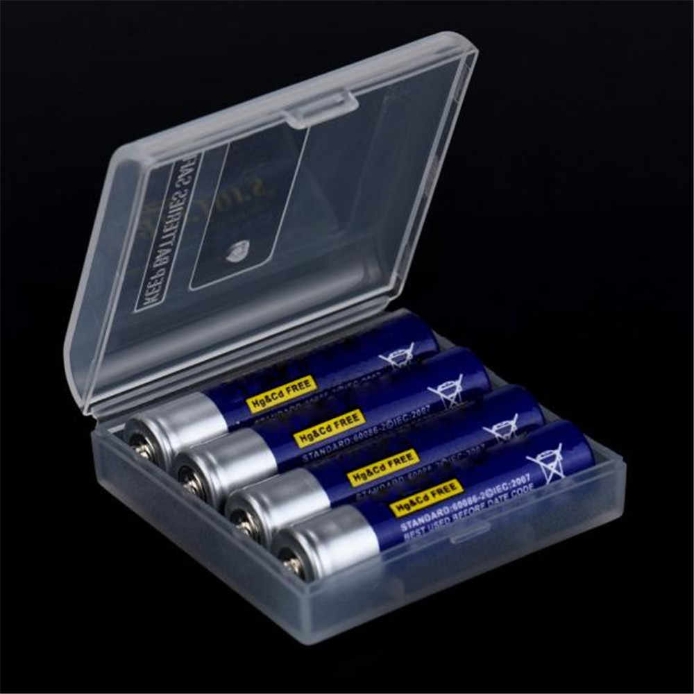 4XAAA Battery Holder Case Organizer Container AAA Storage Box Holder Hard Case Cover Battery Holder