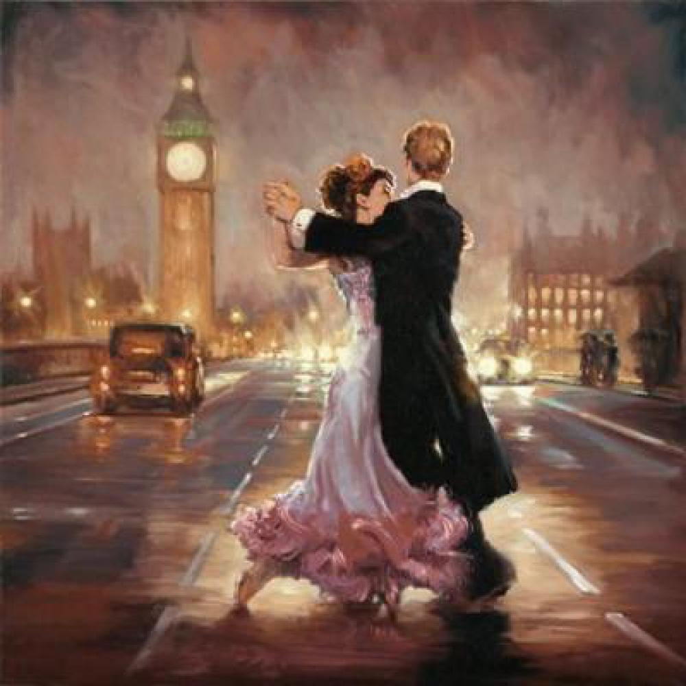 Famous woman painting Romance in the London City oil on canvas impressionist art Handmade Gift