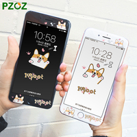 PZOZ For IPhone 7 Tempered Glass Full Cover Screen Protector Cute Cartoon Panda Peony Flag Cat