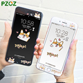 PZOZ For iPhone 7 Tempered Glass Full Cover Screen Protector Cute Cartoon Panda & Peony & Flag & Cat & Skull & Dog 4.7 &5.5 inch