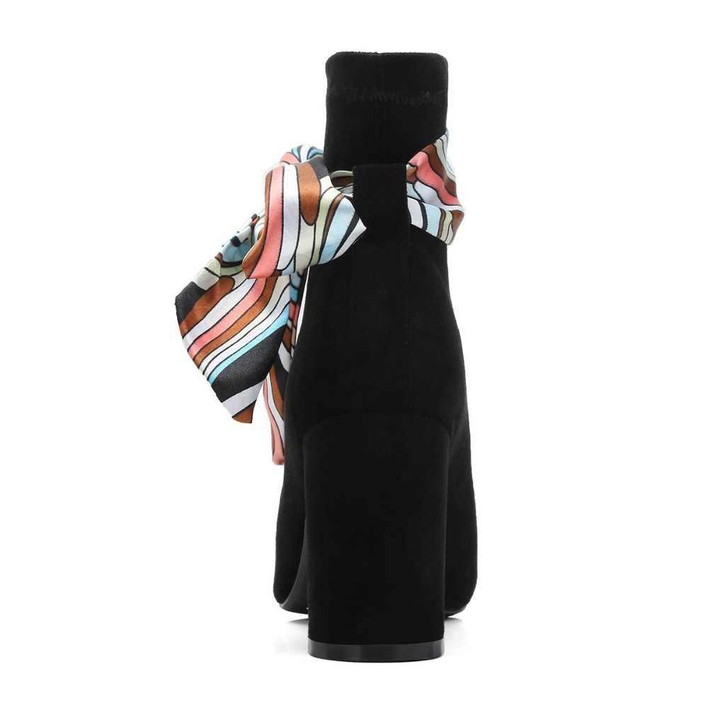 2018 moda çocuk süet yuvarlak ayak yüksek topuklu eşarp kelebek-düğüm kadın yarım çizmeler üzerinde kayma ofis bayan sıcak tutmak kış ayakkabı L40