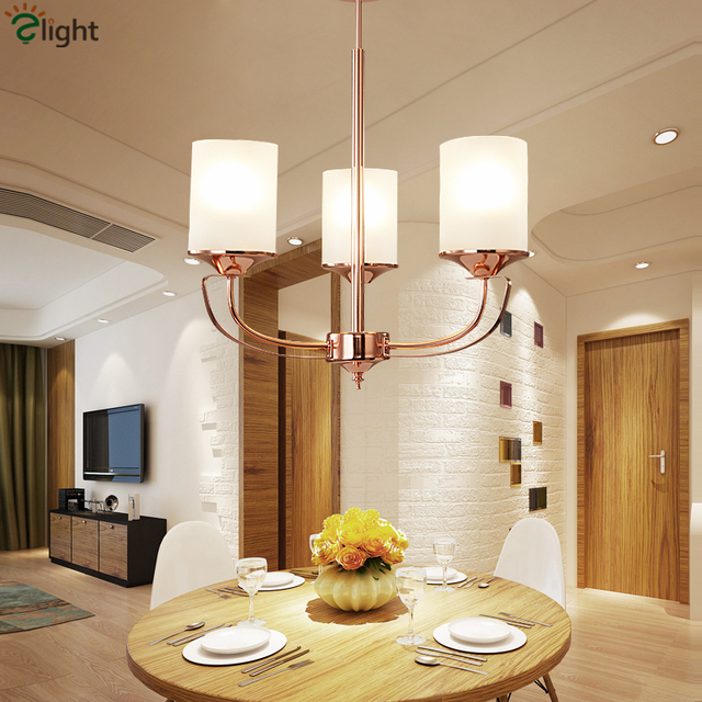 Living Room Art Deco Electroplate Rose Gold LED E27 Chandelier Minimalism Frosted Glass Shades Pendant