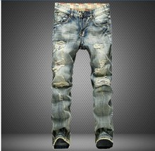 Free shipping 2017 fashion cotton straight models Europe and America men jeans classic new denim jeans young long jeans men Pant