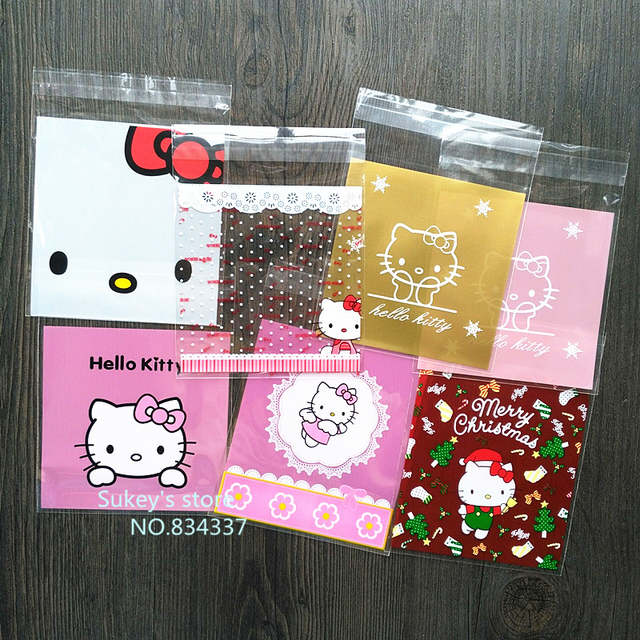 placeholder 100pcs lot 2size Mixed style Hello kitty plastic bags 10x10cm  food self sealing bags cookie eea7193a670f7