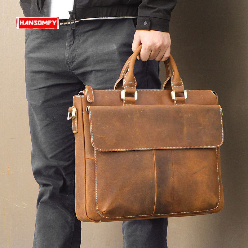 2019 Genuine Leather Men's Briefcases Business Laptop Handbag Retro Crazy Horse Leather Crossbody Bag Portable Brown Travel Bags