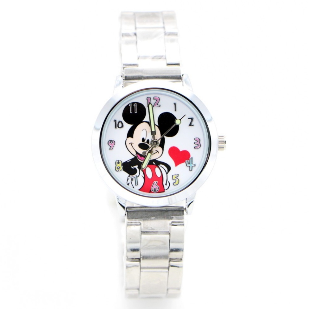 2019 New Cartoon Red Heart Desgin Kids Watch Girls Stainless Steel Fashion Ladies Women Watches Relojes Montres Kol Saati