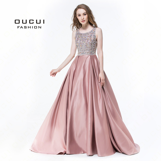 Real Photos Hand Made Crystal Evening Dresses 2019 Full Beaded Long Prom  Dress Cross Back Gowns For Women OL102932 b846e7685