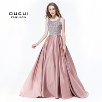 Real Photos Hand Made Crystal Evening Dresses 2019 Full Beaded Long Prom Dress Cross Back Gowns For Women OL102932