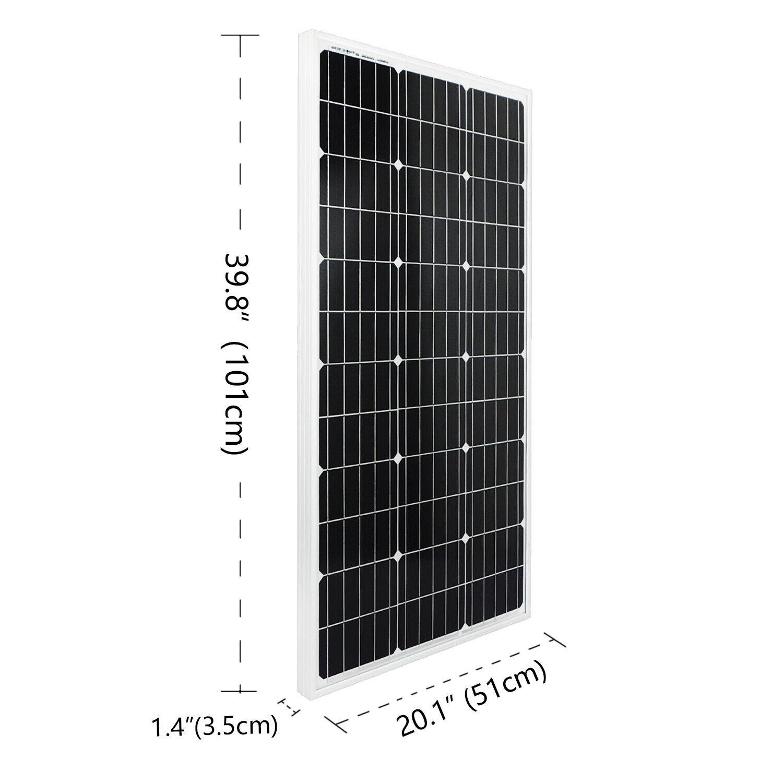 Image 2 - ECOworthy 100 Вт Солнечная Система питания: 100 Вт моно солнечная панель питания и 20A ЖК контроллер и 5 м черный красный Кабели Зарядка для 12 В батареи-in Солнечные энергосистемы from Бытовая электроника