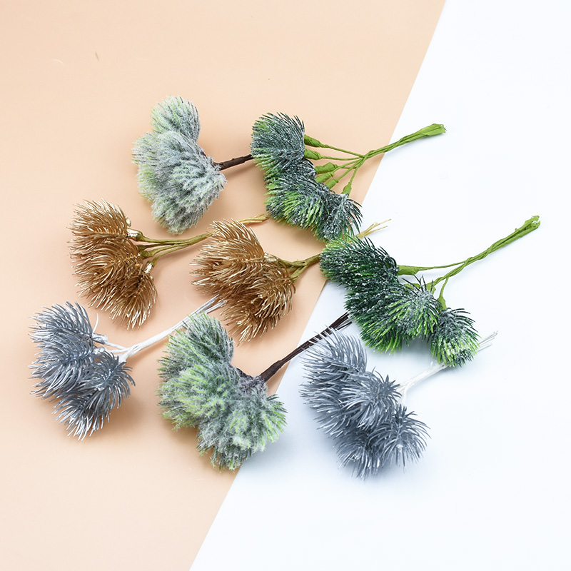 6 Pieces Fake Pine Needle Christmas Decorations For Home Decorative Flowers Wreaths Diy Gifts Box Scrapbooking Artificial Plants