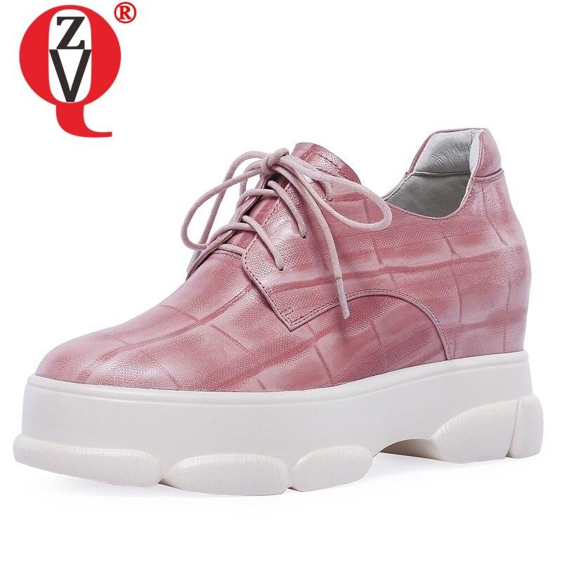 ZVQ offre spéciale chaussures femme printemps concis à la main en peau de mouton plate-forme femmes pompes à l'extérieur croisé bout rond noir rose chaussures