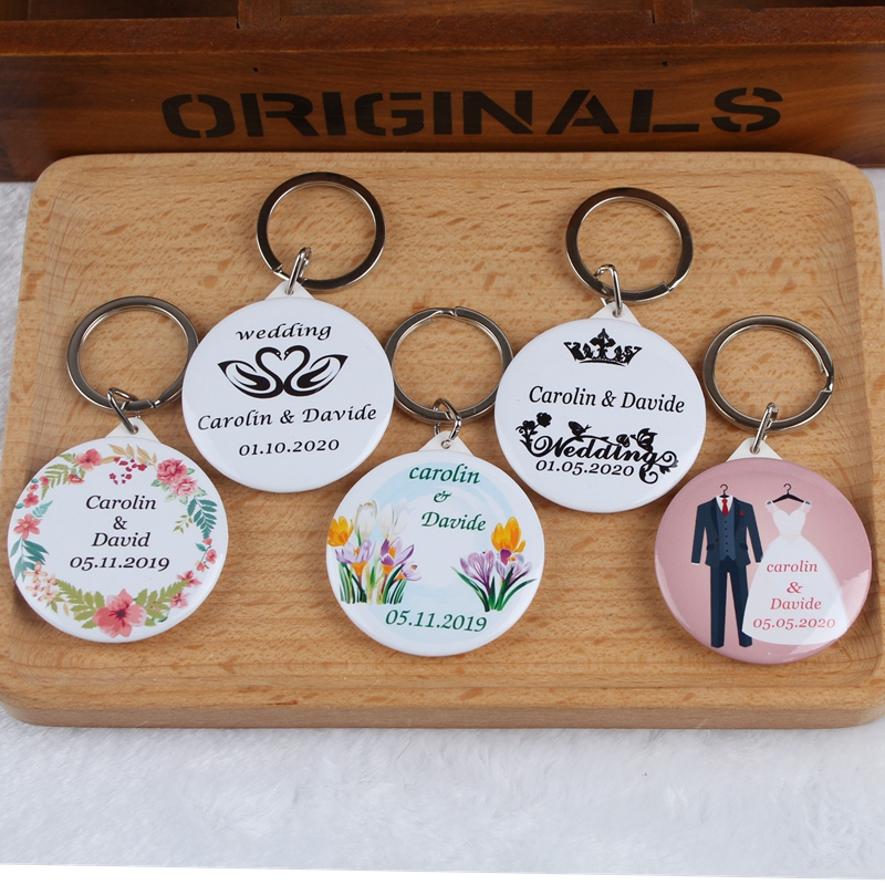 Personalized Wedding Gifts For Guests: 50pcs Custom Personalized Name Date Bottle Opener Keychain