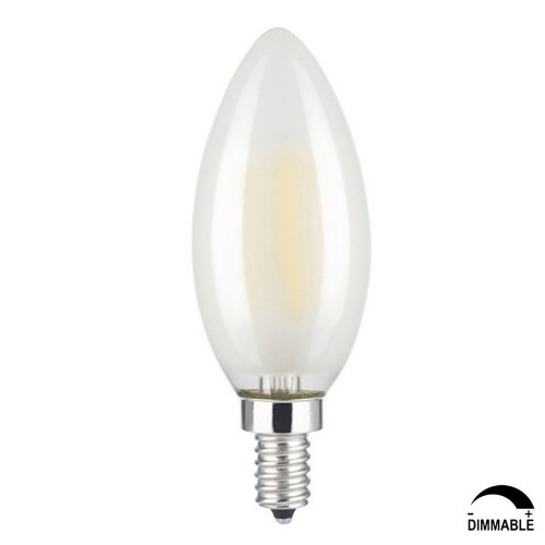 LED Dimmable Frosted Glass Filament Candelabra Bulb, 4.5W (60W Equiv.) C11 Decorative Milky Candle Bulb, UL-listed, 4000K Cool
