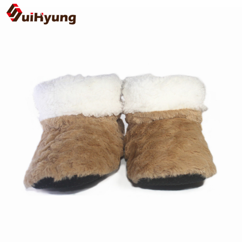 Suihyung New Winter Women Indoor Shoes Flat Cotton Shoes Solid Flock Warm Home Slippers Plush Female Bedroom Casual Shoes Botas