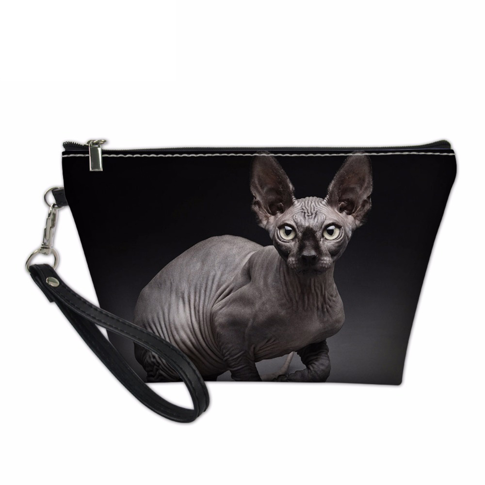 Noisydesigns Cosmetic Cases for Women Travel Makeup Organize Sphynx Canadian Hairless Cats Print Functional Bag Make Up Pouch