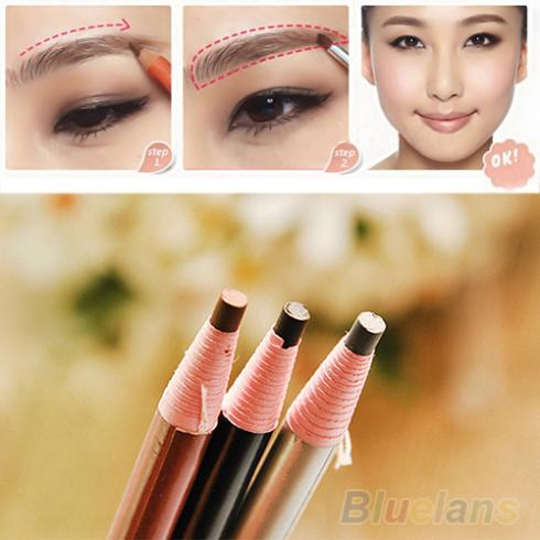 4Pcs Makeup Cosmetic Eyeliner Eye Liner Eyebrow Pencil Brush Tool Light Brown Black Grey 1J4P 2U9G