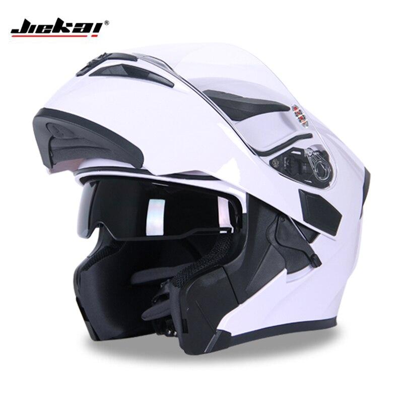 Nueva versión DOT ECE JIEKAI 902 motocicleta Flip up invierno cascos seguridad carreras Motocross Capacete Quad Dirt Bike casco