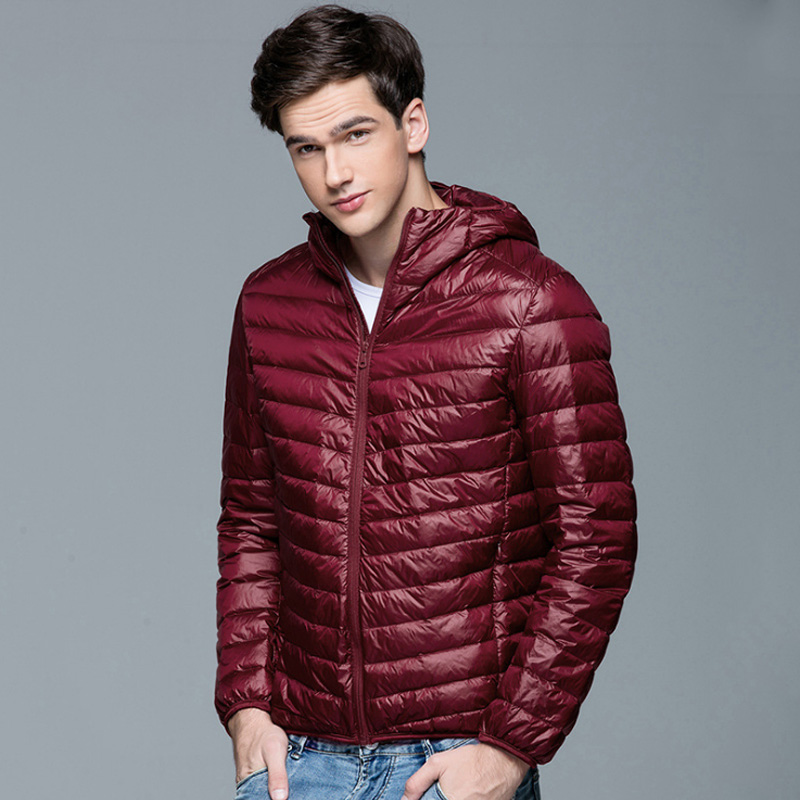 Image 4 - Men Winter Coat Fashion Hooded 90% White Duck Down Jackets Plus  Size Ultralight Down Coat Portable Slim Down Parkas 4XL 5XL 6XLjackets  for young menparka appareljacket at low price