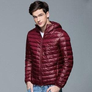 Image 4 - Men Winter Coat Fashion Hooded 90% White Duck Down Jackets Plus Size Ultralight Down Coat Portable Slim Down Parkas 4XL 5XL 6XL