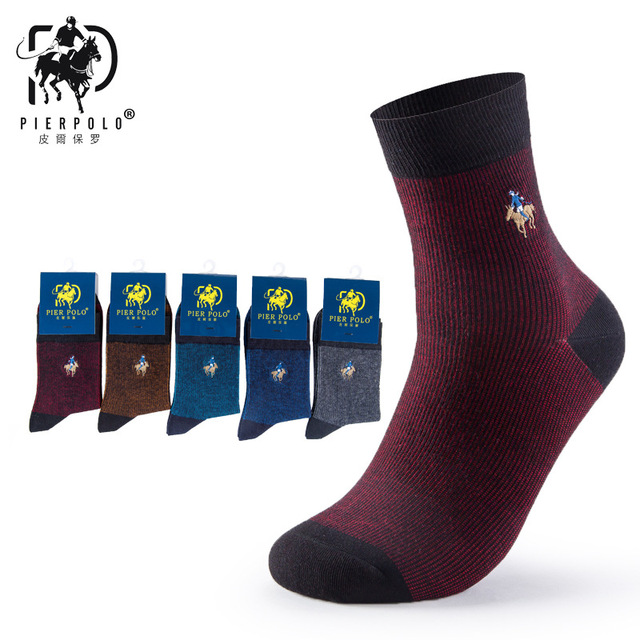 PIER POLO Brand Men Socks Embroidery Socks Cotton Meias High Quality Mens Dress Socks Deodorant Fashion Happy Socks