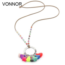 VONNOR Jewery Women Statement Necklace Bohemian Alloy Round Hanging with Colorful Tassel Velvet Cord Long Necklace